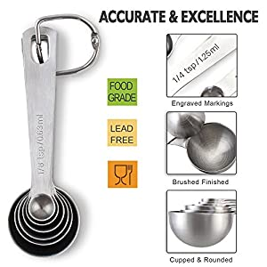 1Easylife 18/8 Stainless Steel Measuring Spoons, Set of 6 for Measuring Dry and Liquid Ingredients
