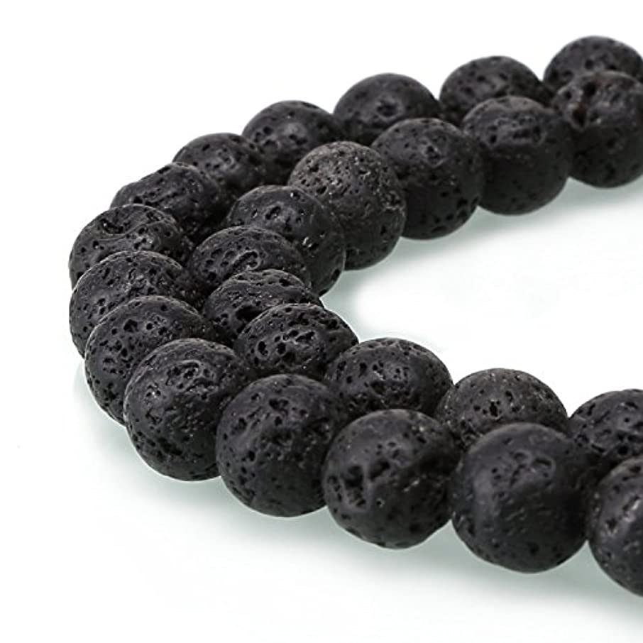 Shopping_Shop2000 Natural Round 6mm Black Lava Stone A Grade Gemstone Loose Beads 1 Strand 15.5