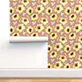 Spoonflower Pre-Pasted Removable Wallpaper, Fall Autumn Floral Florals Watercolor Sunflower Sunflowers Print, Water-Activated Wallpaper, 24in x 108in Roll
