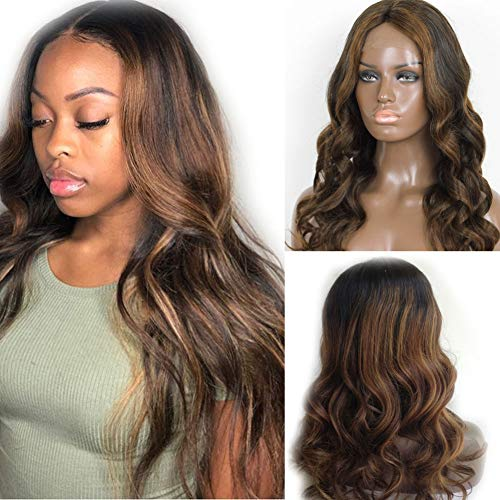Glueless Ombre Lace Front Human Hair Wigs 130% Density Brazilian Body Wave Highlights Color Lace Front Wigs For Black Women 18inch