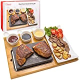 Cooking Stone- Complete Set Lava Hot Steak Stone Plate Tabletop Grill and Cold...