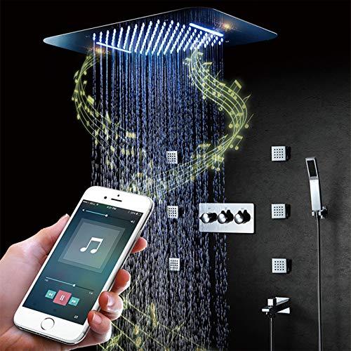 Musical Sistema De Ducha 64 Colores LED Conjunto Sistema De Ducha De Lluvia Combinado De Ducha Baño Termostático Juego De Grifos De Ducha para Baño