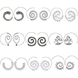 9 Pairs Bohemian Vintage Hoop Earrings Circle Tribal Earrings Swirl Spiral Hoop Earrings for Women, Silver