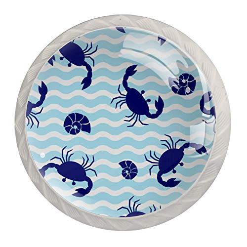 Royal Blue Cangrejo onda azul claro, paquete de 4 pomos para cajón, pomos redondos modernos para aparador, cajones, pomos de cocina