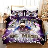 XCMDSM Leo Messi Goles en la Liga Santander ídolo Juvenil Superestrella del fútbol Juego de Funda nórdica y 2 Fundas de Almohada 100% súper Microfibra (240x 260 cm y 50 x 91 cm*2)