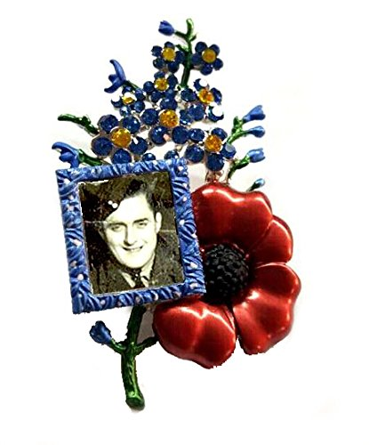 Klaritta Large Red & Blue Poppy Flower Forget Me Not Picture Frame Brooch for own Photo to use Pin BR300