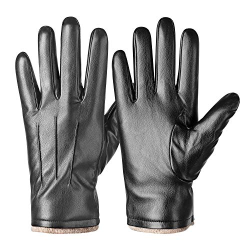 Winter PU Leather Gloves For Men, Warm Thermal Touchscreen Texting Typing Dress Driving Motorcycle Gloves With Wool Lining (Gray-M)