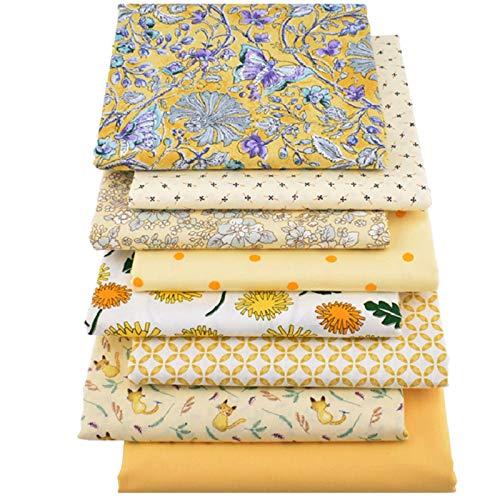 iTemer 40x50cm 8 Stueck/Set Gelb Drucken Muster Baumwollstoff Stoffpakete Stoffpakete Stoffe DIY Stoffe zum Nähen Patchwork für Kleidung, Bettwäsche, Vorhänge, Tischdecken usw Handgefertigt