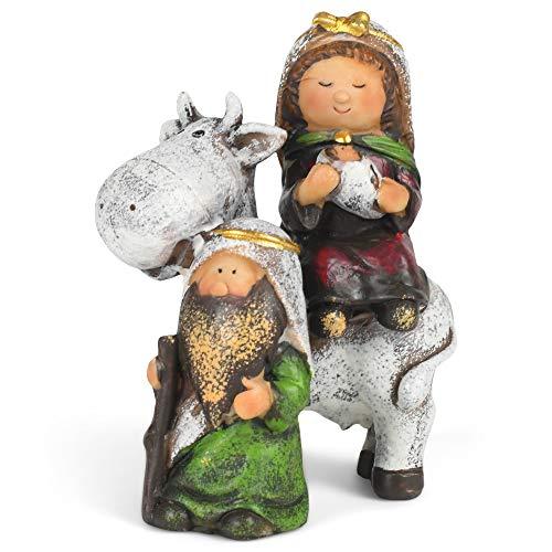 Hanna's Handiworks Holy Family 1 Piece Nativity Tabletop Decoration 4 in Tall Jesus, Mary, and Joseph On Donkey