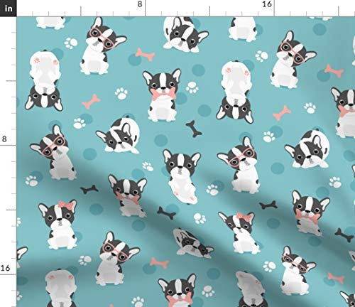 Spoonflower Fabric - Frenchie Mint Pink French Bulldog Dogs Girls Printed on Petal Signature Cotton Fabric by The Yard - Sewing Quilting Apparel Crafts Decor