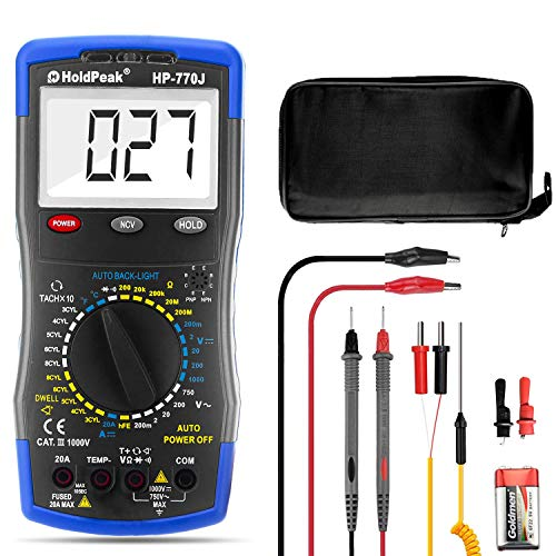 Automotive Multimeter HP-770J Auto Digital Multimeter manueller Streckenauto-Multitester Voltage Detector mit Durchgangsprüfung,Hintergrundbeleuchtung,Tach/RPM,Dwell,Widerstand und Temperaturmessung