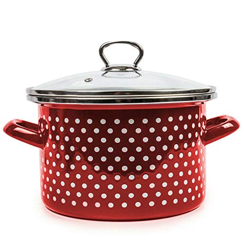 Red Polka Dot Enameled Stockpot with Lid. Durable Enamelware Cooking Pots(5qt)