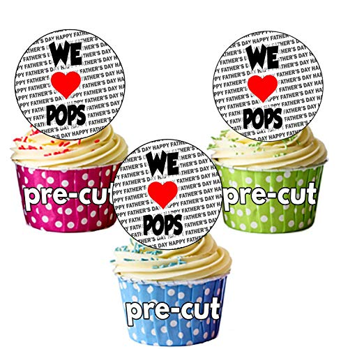 AK Giftshop Vaderdag - We houden van Pops - 24 Eetbare Cupcake Toppers Cake Decoraties - Easy Precut Circles