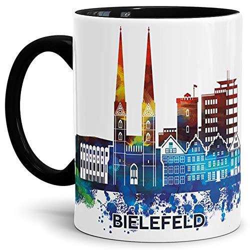 Tassendruck Bielefeld-Tasse Skyline - Kaffeetasse/Souvenir/Silhouette/Städte-Tasse/Cup/Mug/Becher/Beste Qualität - 25 Jahre Erfahrung - Innen & Henkel Schwarz
