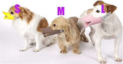 Interesting 3Pcs (S+M+L) Cute Duckbill Shaped Adjustable Dog Silicone Funny Muzzle Size M Dog Pet Muzzle Mask Anti Bark Bite(Random Color)