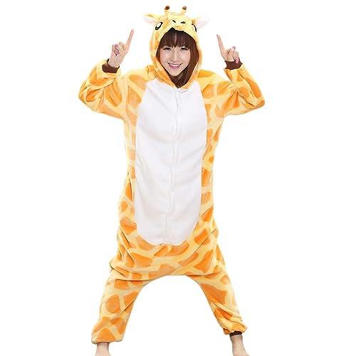 049e33aecc Afoxsos Women s Soft Fleece Animal Cartoon Onesie Adult Pajamas Giraffe