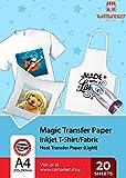 Hierro sobre papel de transferencia para tela claras, blancas y transparente (Magic Paper) de Raimarket   20 hojas   Transferencia de hierro A4 para inyección de tinta en papel / camisetas