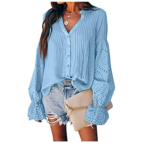 Women Fashion Lace Button Long Sleeve Blouse Casual Loose Tops T-Shirt Blue