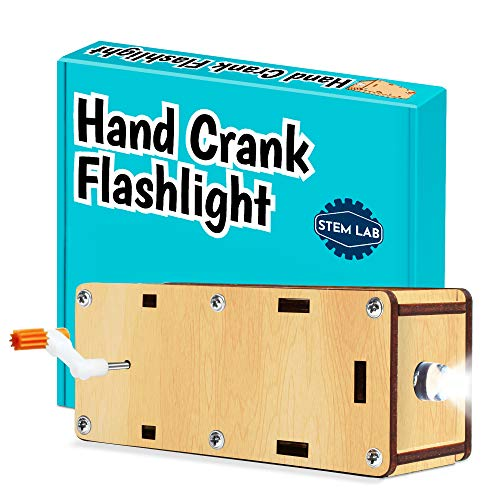 DIY Hand Crank Flashlight STEM Kit. Kids 8-12 build a human-powered flashlight with gears & generator motor. Great science gift for curious kids. Includes all tools & child - friendly instructions.
