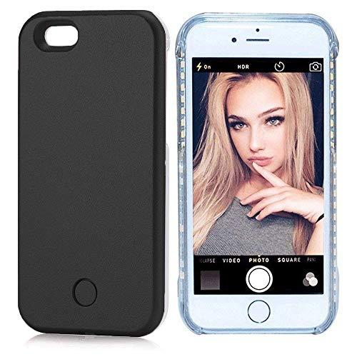 PHILIPOUS iPhone 7/8Plus case - LED Illuminated Selfie Light Cell Phone Case Cover [Rechargeable] Light Up Luminous Selfie Flashlight Case(Black, iPhone 7/8Plus)