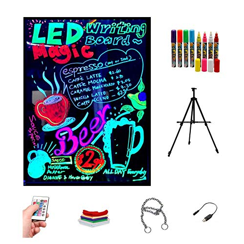 Pizarra LED luminosa 40x60cm, RGB, acrílica + TRÍPODE + PACK 8 ROTULADORES, ENTREGA 1-3 DÍAS