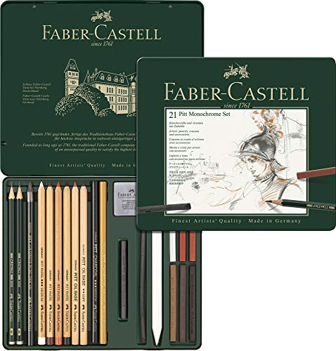 Faber-Castell 112976 - Pitt Monochrome Set im Metalletui, medium, 21-teilig