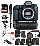 Canon EOS 6D Mark II DSLR Camera (Body Only) (1897C002) Professional Bundle Package Battery Grip + Replacement Battery (2CT) + SanDisk Extreme pro 64gb SD Card + More