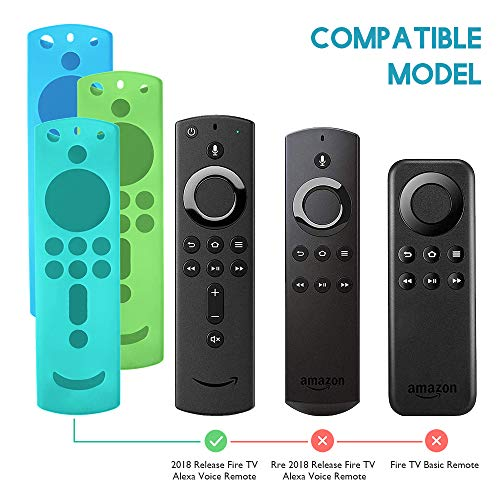 3 Pack Silicone Protective Remote Control Case for Fire TV Stick 4K/ Fire TV Cube/Fire TV (3rd Gen), Shockproof Skin Anti Slip Fire TV Remote Cove for All-New 2nd Gen Alexa Voice Remote Control