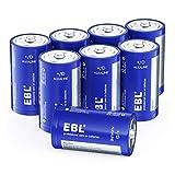 EBL 単一乾電池 単1形アルカリ 8本セット(2本入り×4パック) 家庭用およびビジネス、玩具、リモコン、懐中電灯、キャンプ灯、電子機器、ガスコンロ、給湯器に適用 10年間長期保存可能 / 液漏れ防止/リサイクル可能 D型アルカリ乾電池 単一電池 アルカリ乾電池