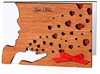 Handmade Real Wood Kiss Romantic Greeting Card Original Wedding Day Keepsake Novelty Souvenir Fun Happy Birthday Present for Her Girl Wife Girlfriend Sister Aunt Best Friend Him Men Husband Boyfriend