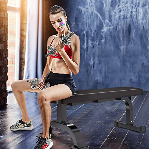 Murtisol Multifunctional Flat Weight Bench for Weight Training and Abdominal Exercise ,Workout Excercise Fitness Bench ,45.67''*25.2''*16.34'',Model 1212,Black