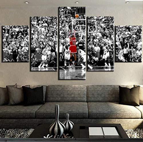 MZCYL Leinwand Bild Malerei Michael Jordan Basketball Sport Dekorative Schlafzimmer Wohnzimmer Home Wall Art Decor Kunstwerk 5 Stücke Rahmenlose