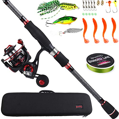 Sougayilang Telescopic Fishing Rod and Reel Combos with Lightweight 24-Ton Graphite Rod and Spinning reels-7.98Ft Rod DL2000 Reel with Carrier Bag