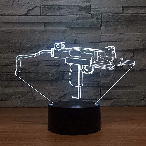 3D Led Machine Gun Modelling Nachtlampjes USB Touch Knop Verloopstukken Bureau Lamp 7 Kleur Verandering Thuis Decor Verlichting voor Kind Cadeauverlichting voor Kids Kast