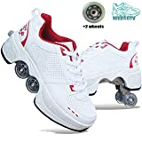 WEDSGTV Patins à roulettes Inline Skate Shoes ,Tyrant White Roller Skates Inline Chaussures ,Patins Adultes pour Hommes Et Femmes,RedA-39