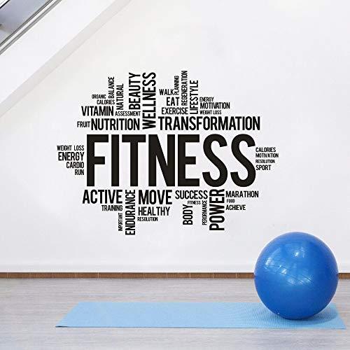 sanzangtang Sala de Fitness Etiqueta de la Pared Gimnasio Deportes energía Vitamina Pared Mural Vinilo calcomanía Ejercicio decoración,100x74cm