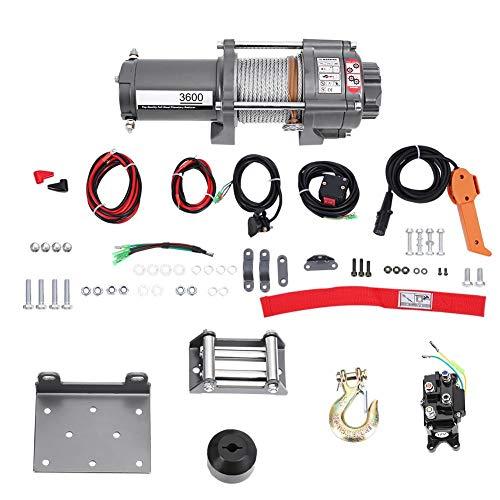 Polipasto eléctrico, 3600lb 12V cabestrante eléctrico (para coche camión barco remolque bicicleta