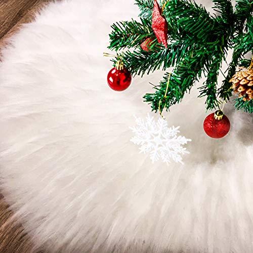 Tatuo Weiße Kunstpelz Weihnachtsbaum Rock Schnee Baum Röcke für Weihnachtsfeiertag Dekorationen (100 cm)