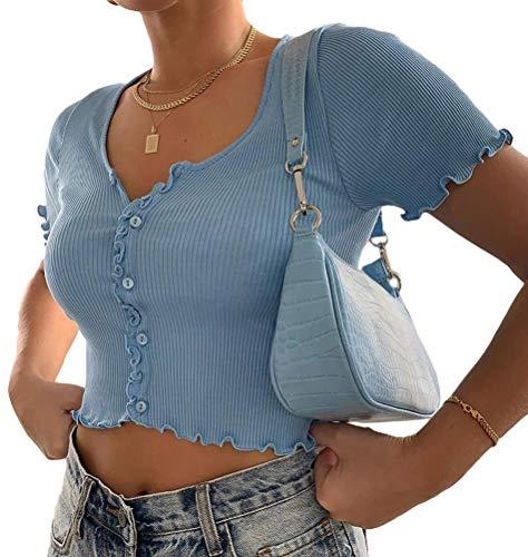 Minetom Damen Bauchfrei Oberteile T-Shirts Kurzarm Crop Top Kurz Shirts Bedruckte Tshirts D Blau 34