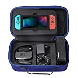 MoKo Nintendo Switch Portable Case Travel Carrying Hard Shell Box Holder Protective Storage with 12 Game Cartridge Card for Nintendo Switch 2017 Console Gamepad Charger & Cable - Indigo [並行輸入品]
