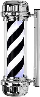 73CM LED Barber Pole 38CM White Black Rotating Illuminating Stripes Waterproof Light Hair Salon Shop Sign Wall-Mounted Lamp