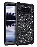 Casetego Compatible Galaxy Note 8 Case,Glitter Sparkle Bling Three Layer Heavy Duty Hybrid Sturdy Armor Shockproof Protective Cover Case for Samsung Galaxy Note 8,Shiny Black