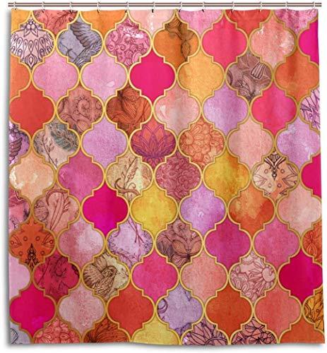 lovedomi Simple Theme Series Rose Kumquat - Cortina de ducha con diseño de azulejos marroquíes, impresión 3D, revestimiento impermeable, tela de poliéster para baño de 71 pulgadas con 12 ganchos