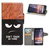 HHDY Wiko Y60 Leder Hülle,Painted Muster Wallet Handyhülle mit Kartenfächer/Standfunktion Hülle Cover für Wiko Y60,Don't Touch