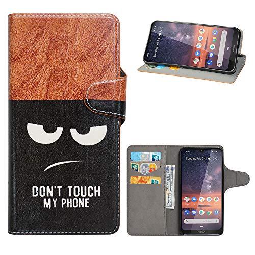 HHDY Cover Nokia 3.2 2019,Flip Wallet Case PU Pelle con Carte Slot Credito Portafoglio Supporto Stand Schema Custodia per Nokia 3.2 2019 Smartphone,Don't Touch