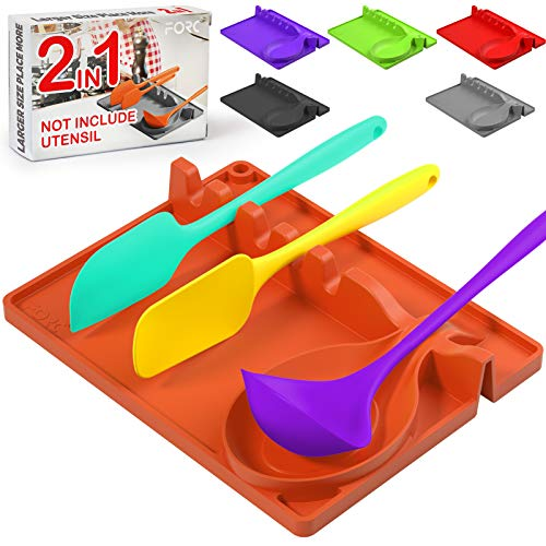 Forc Silicone Spoon Rest 2 in 1 Larger Size Silicone Spoon Holder for Stove Top, Upgraded Utensil Rest with Drip Pad Include 5 Slots & 1 Spoon Holder, Easy to Clean, Hang Hole Design, Orange