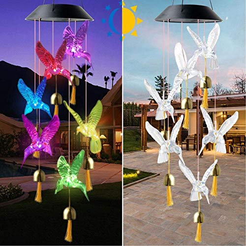 AZYVv Color Changing Solar Power Wind Chime Crystal Ball Hummingbird Butterfly Waterproof Outdoor Wind Chime Light for Patio Yard Garde