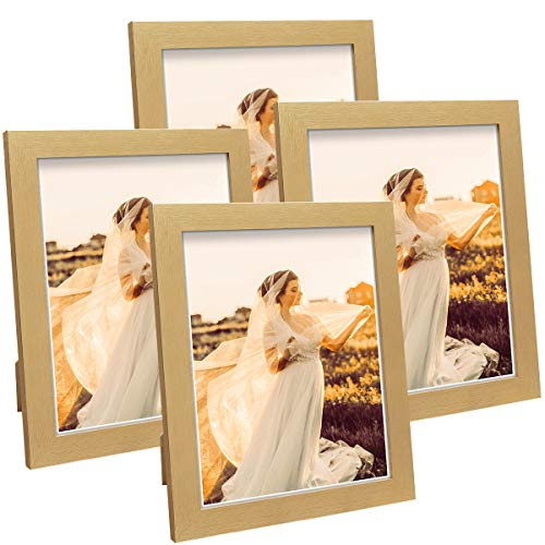 Q.Hou 8x10 Picture Frame Wood Patten Gold Photo Frames Packs 4 with High Difinition Glass for Tabletop or Wall Decor (QH-PF8X10-GD)
