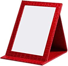 Compact Mirrors Make-upspiegel Pu Lederen desktop dressing spiegel draagbare spiegel make-up spiegels (Size : 17 * 12CM)