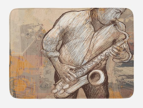 """Ambesonne Music Bath Mat, Jazz Musician Playing The Saxophone Solo in The Street on Grunge Background Art Print, Plush Bathroom Decor Mat with Non Slip Backing, 29.5"""" X 17.5"""", Brown Ecru"""